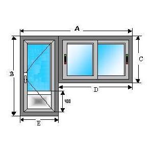 Ventana corredera 1000X1000 y puerta en aluminio 2000X1000 sin registro y sin persiana