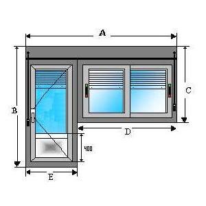 Puerta bandera con resgistro y persiana - Puerta balconera aluminio ...
